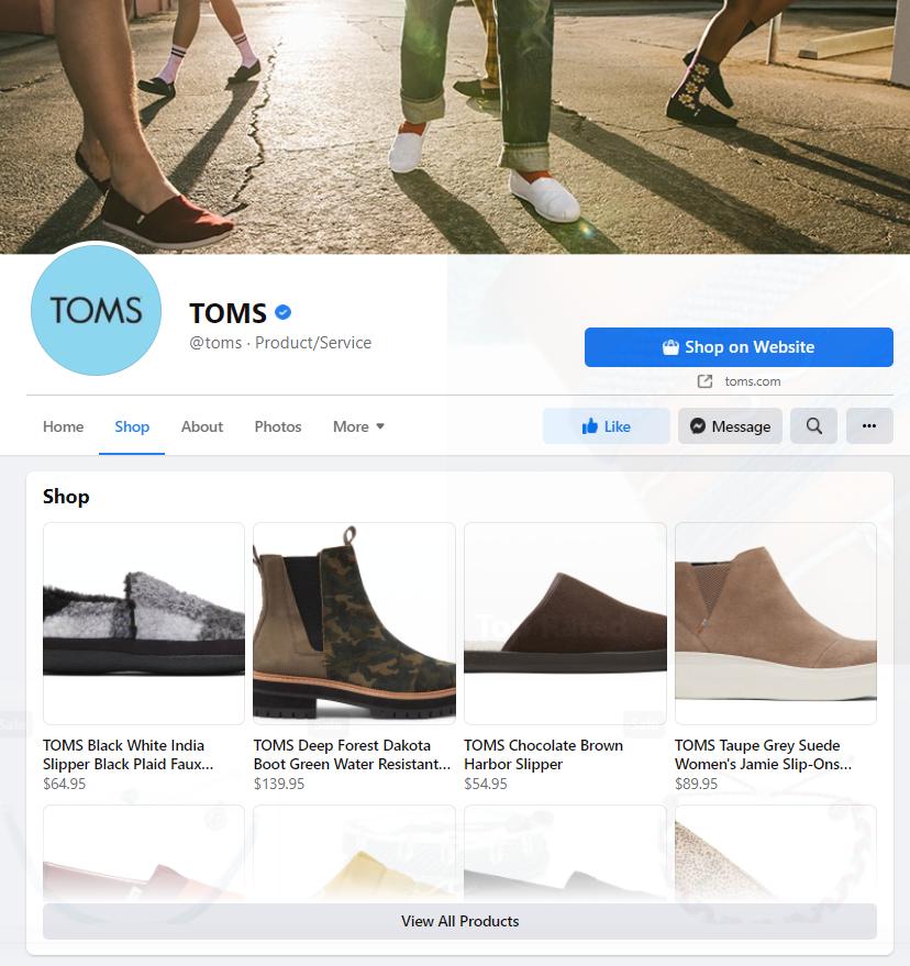 facebook shops desktop view