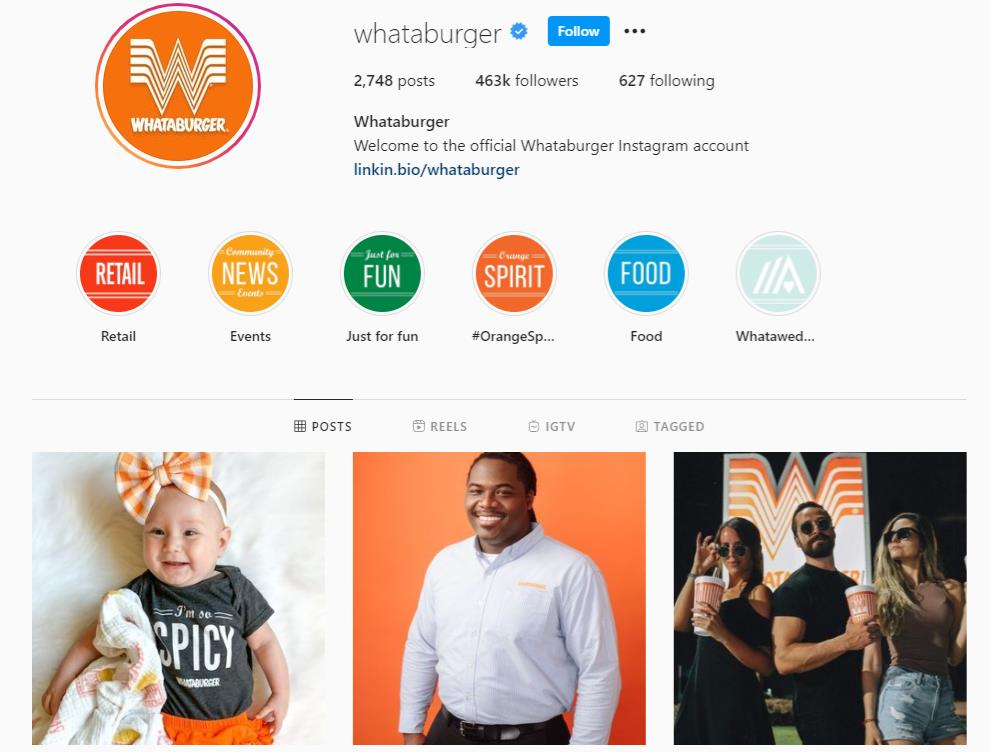 Instagram feed of Whataburger showing orange and white themes in images
