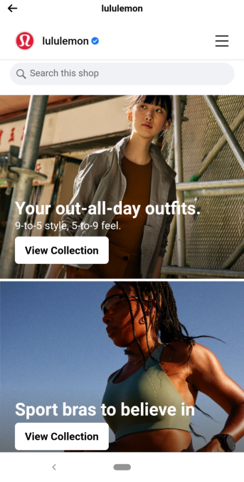 lululemon facebook product collection