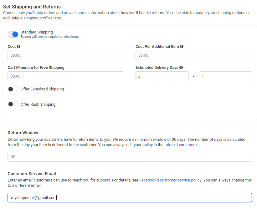 setting up shipping and returns in facebook shops