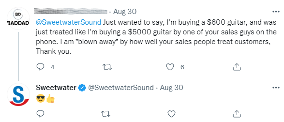 example of positive customer interaction from conversational commerce