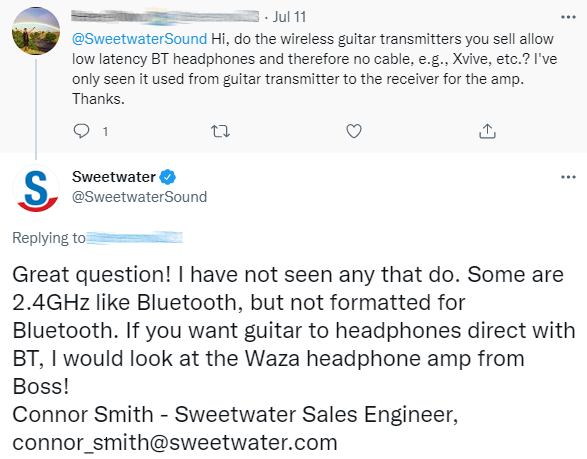 social customer service from sweetwater