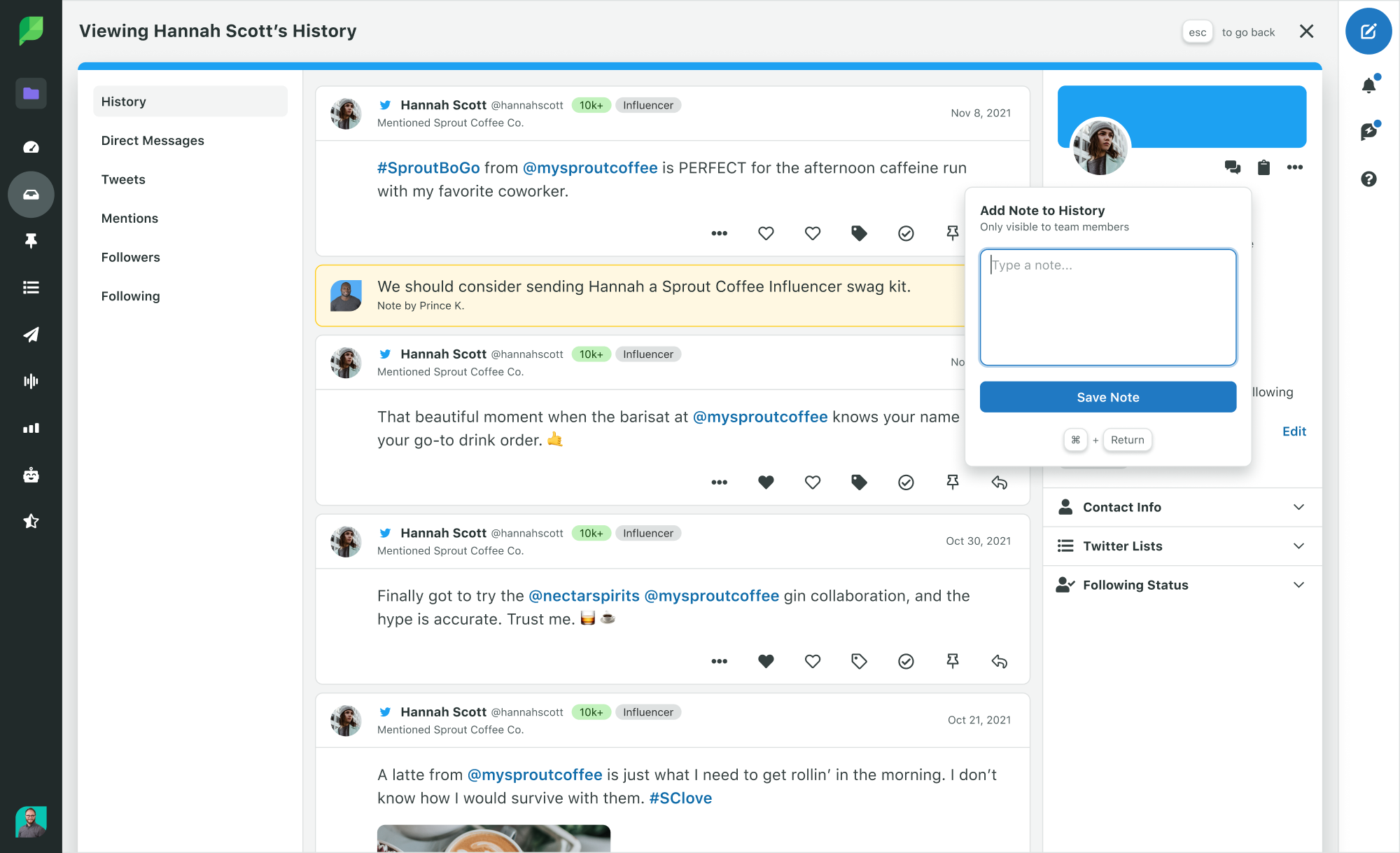 Sprout Social Product Image of Engagement Contact View with Twitter Conversation History Add Note