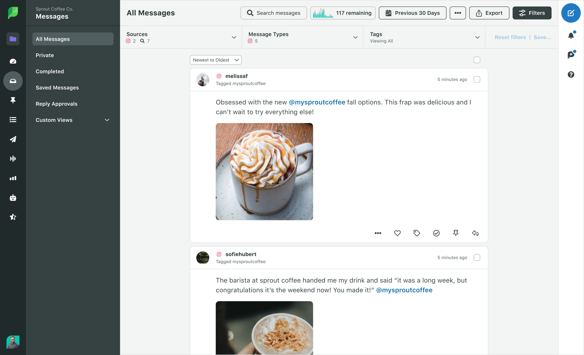 Sprout Social Product Image of Engagement Smart Inbox with Instagram Brand Keywords Selected