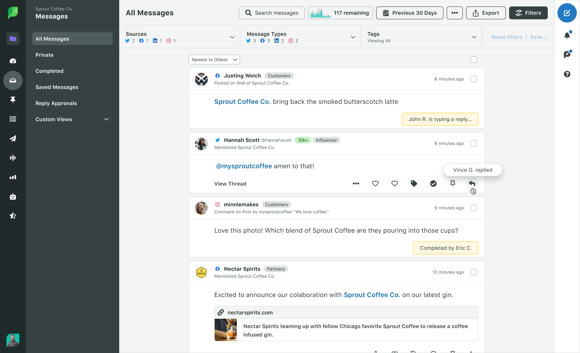 Sprout Social Smart Inbox collision detections