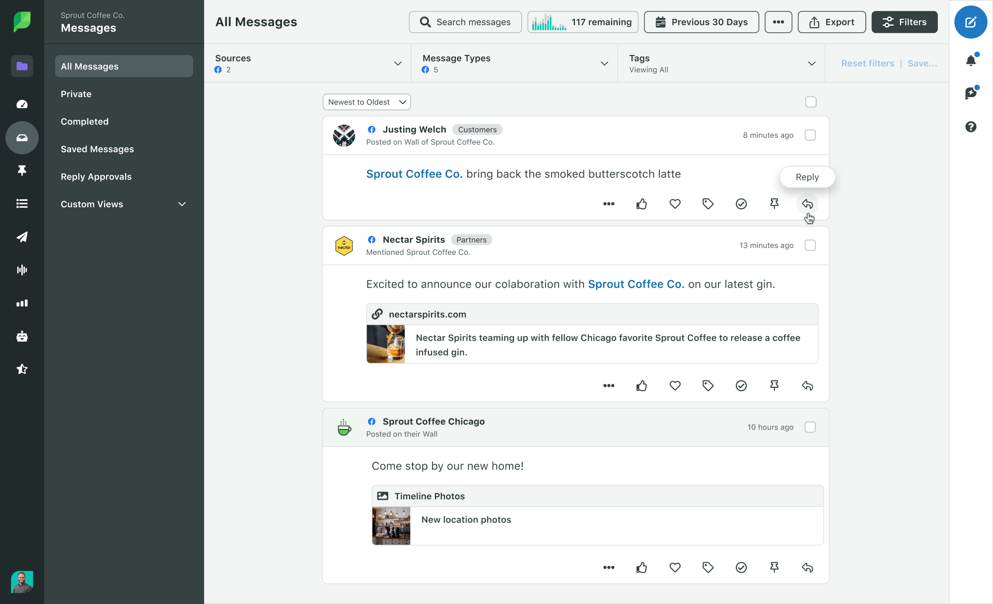 Use Sprout Social's Smart Inbox to reply to followers, brand mentions, and brand community members.