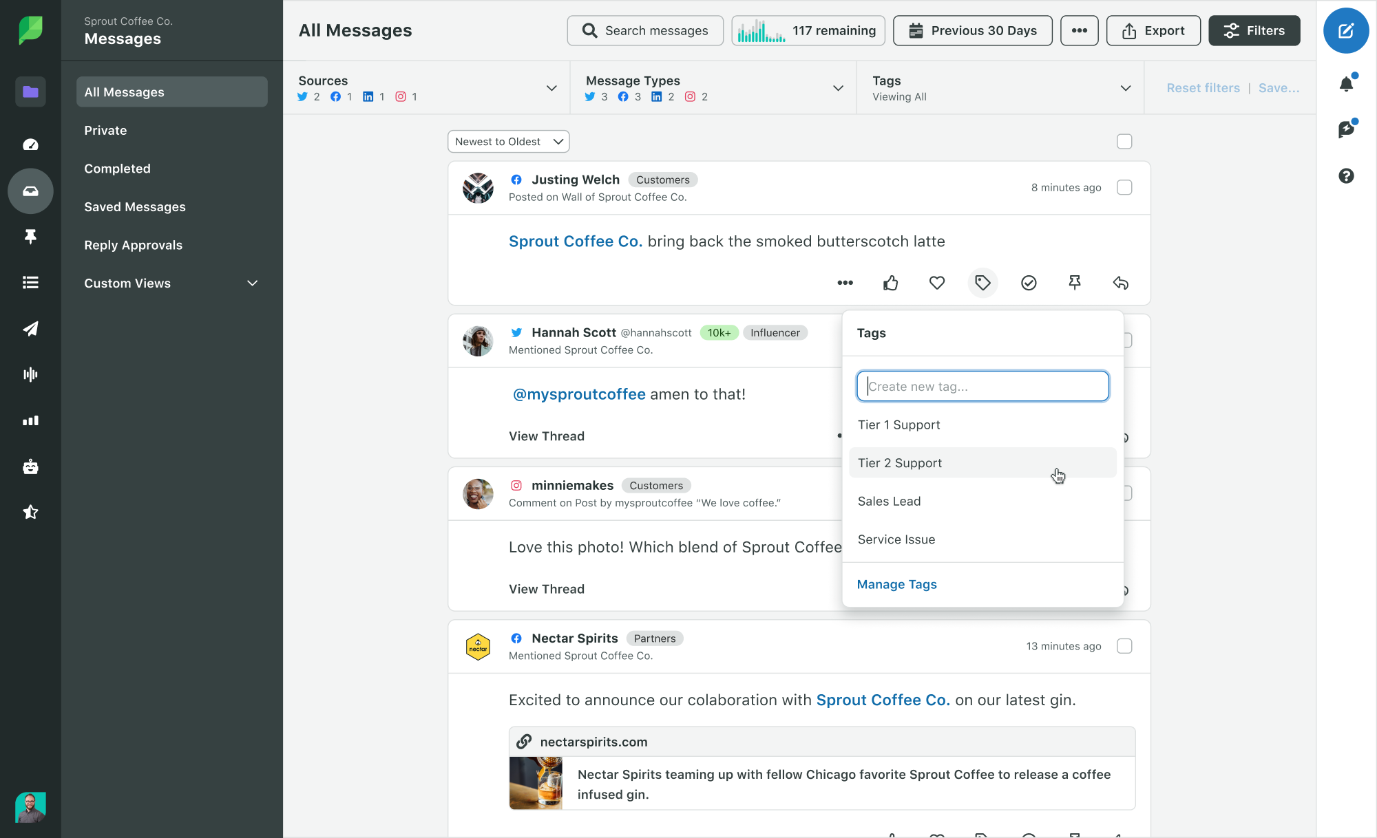 Sprout Social's Smart Inbox with message tagging and collaboration