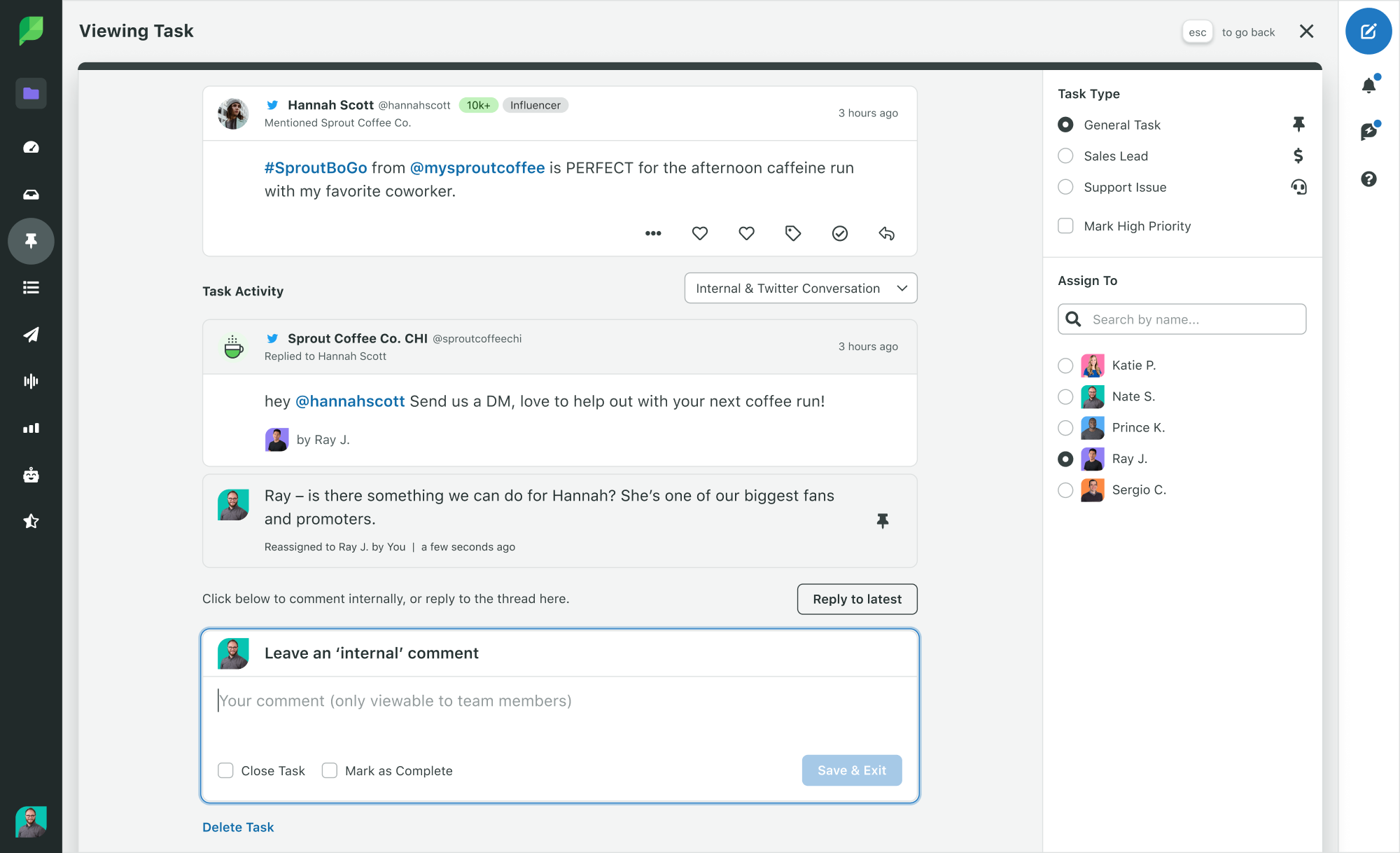 Sprout Social Product Image of Engagement Twitter Task Activity History