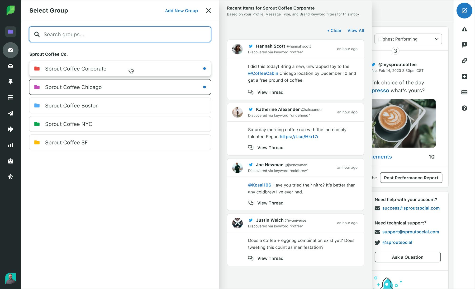 Sprout Social: imagem do produto Selecionador de perfil