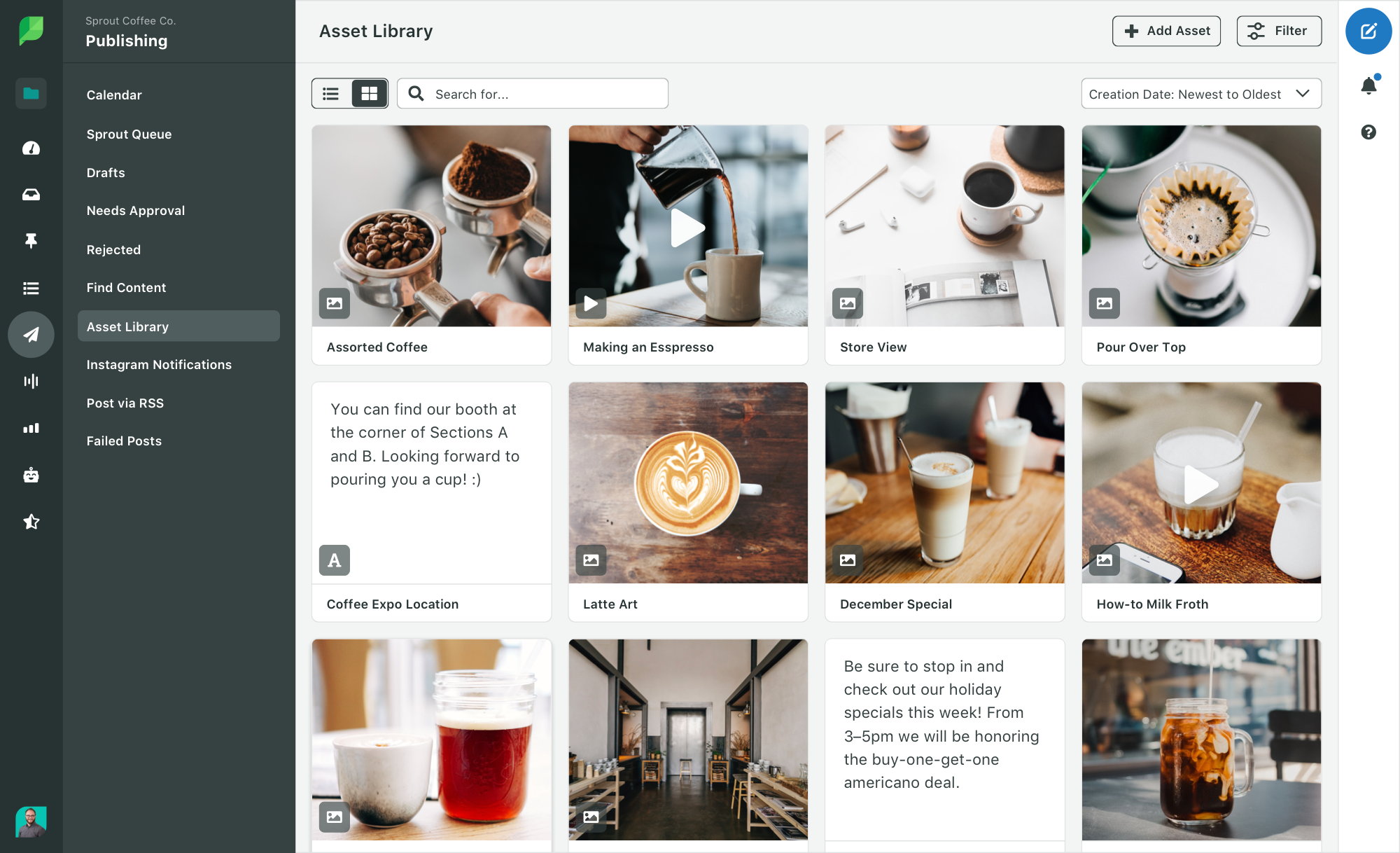Sprout Social Asset Library allows you to curate approved imagery and messages for use