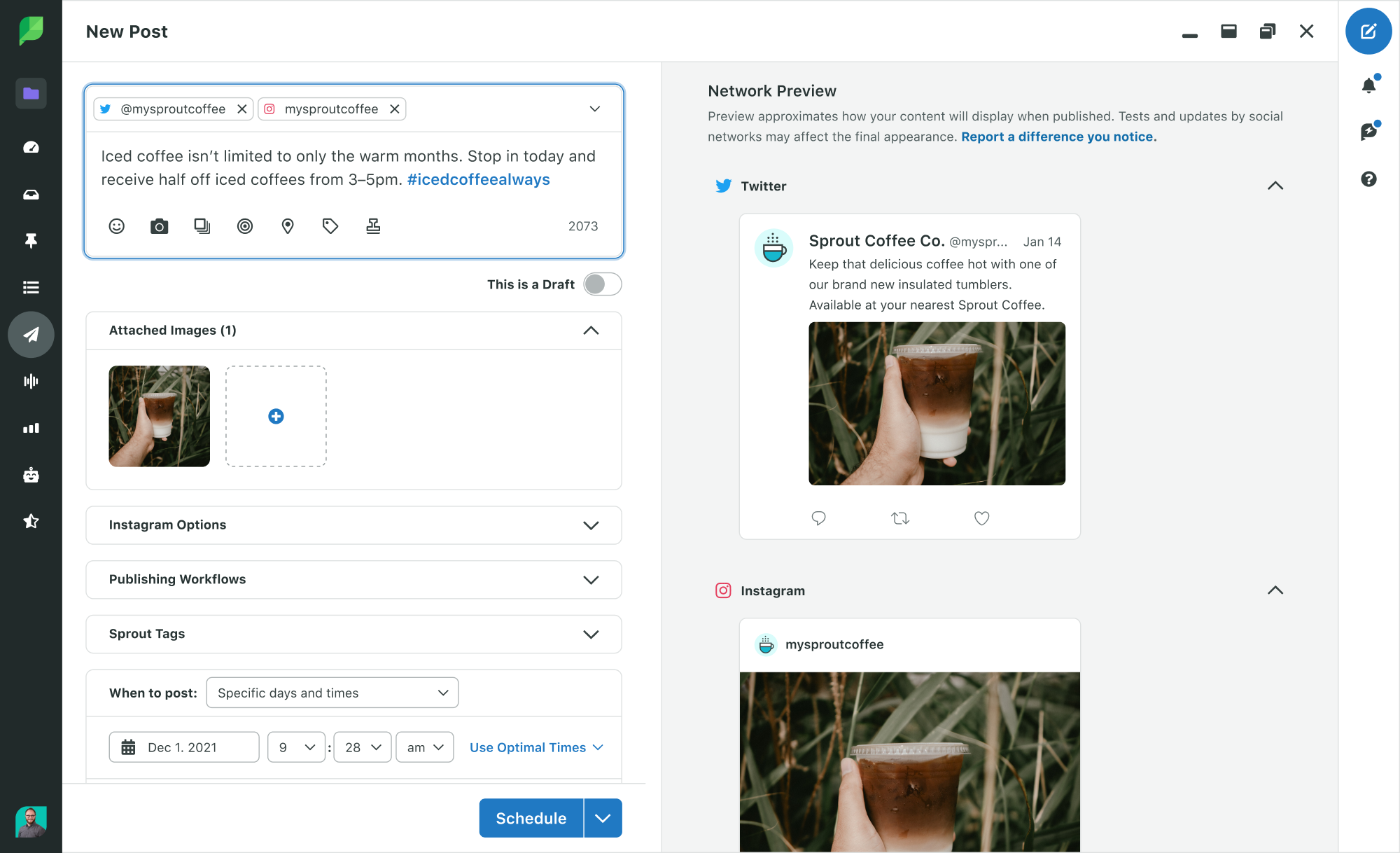 Preview Twitter and Instagram posts with Sprout Social's compose preview feature