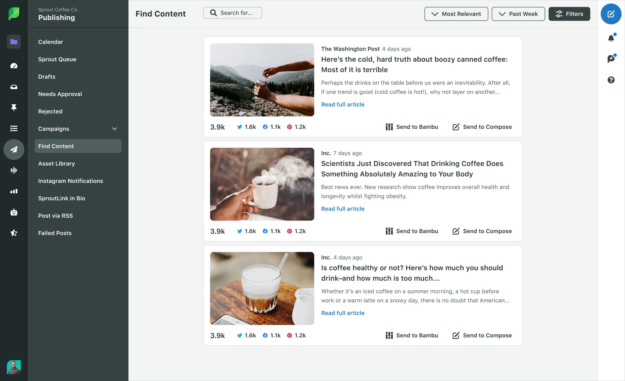 Sprout Social find content via RSS feed