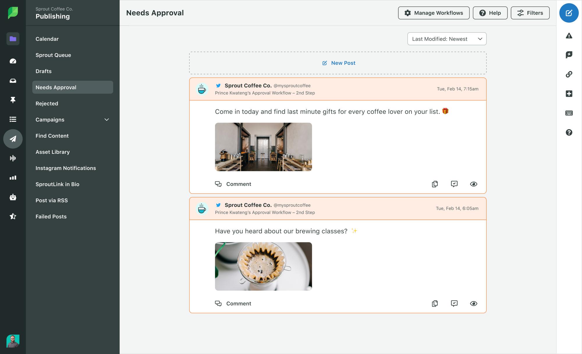 El proceso de flujo de trabajo de aprobación de Sprout Social filtra los mensajes que necesitan respuestas o publicaciones de aprobación.