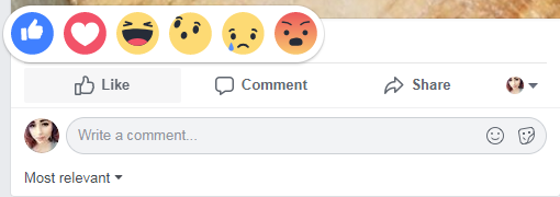 facebook reactions and comment field