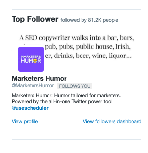 example of a top follower reported in Twitter analytics