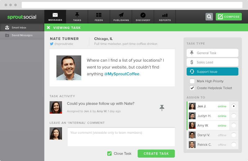 Assigning tasks in sprout  How to Use Social Listening to Find Qualified Sales Leads smart inbox assign task